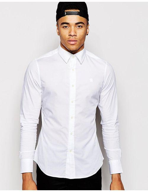 G-Star | Мужская Белая Рубашка Из Эластичного Поплина Valdo