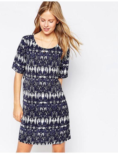 Vila | Женское Синее Цельнокройное Платье С Принтом