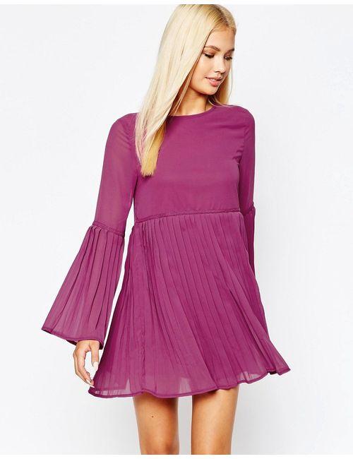 MISSGUIDED | Ягодное Свободное Платье С Расклешенными Рукавами