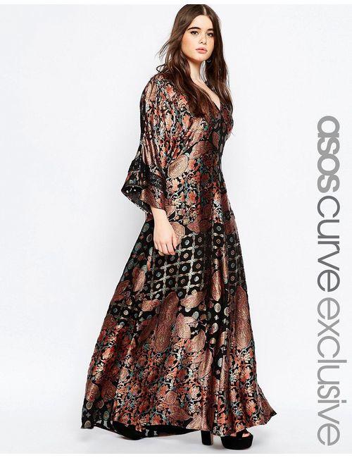 ASOS CURVE | Чёрное Длинное Платье-Кимоно В Стиле 70Х С Принтом