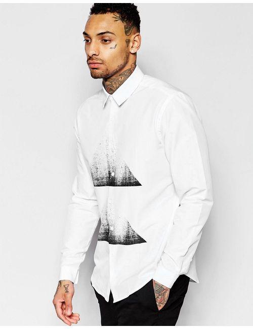 Asos | Мужская Белая Рубашка Классического Кроя С Треугольным Принтом На