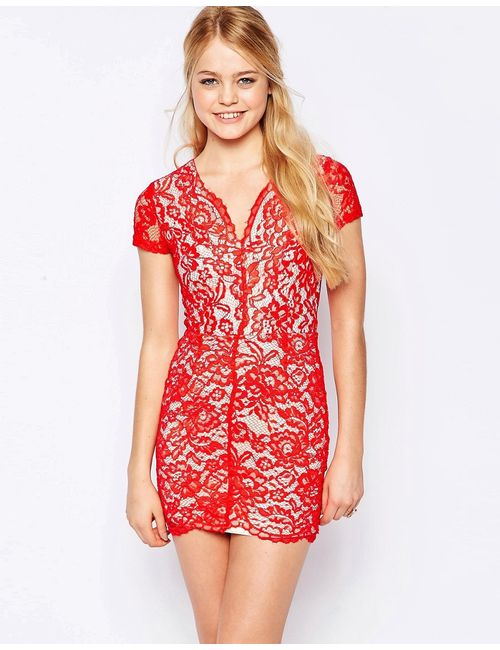 Glamorous | Красное Кружевное Платье-Футляр Красный