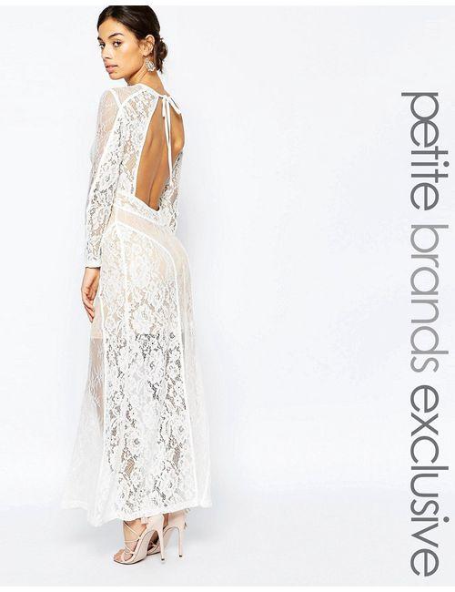 True Decadence Petite   Женское Белое Кружевное Платье Макси С Открытой Спиной Premium