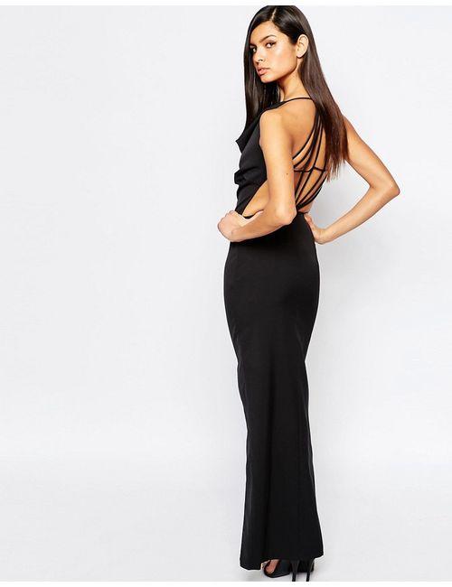 8th Sign | Женское Чёрное Платье Макси С Глубоким Вырезом Спереди И