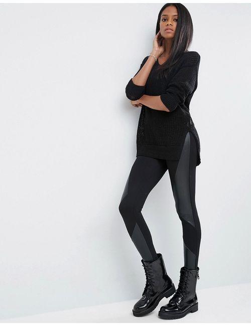 Asos | Женские Чёрные Леггинсы Со Вставками В Кожаном Стиле Черный