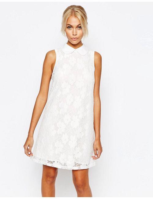 Fashion Union | Белое Кружевное Цельнокройное Платье С Воротником