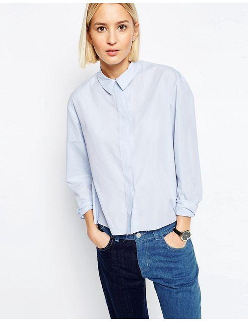 ASOS WHITE | Мужская Синяя Рубашка С Необработанным Краем