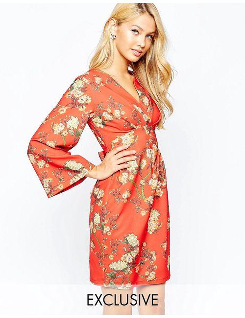 Closet | Женское Платье Миди С Широкими Рукавами И Запахом