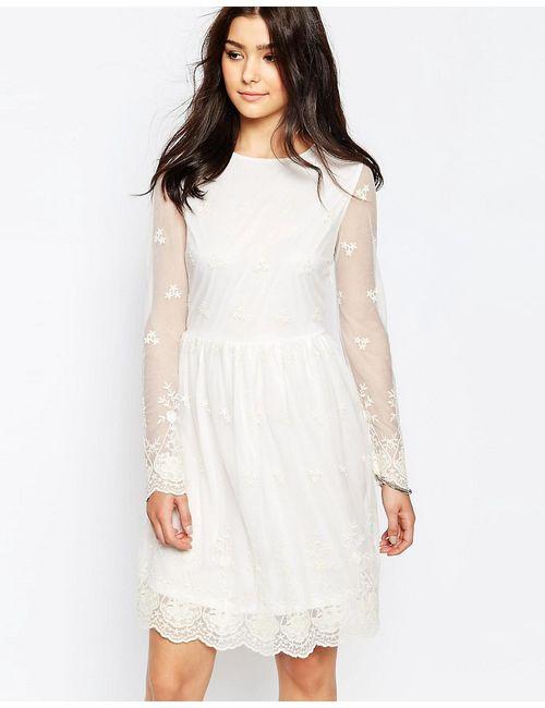Glamorous | Женское Кремовое Кружевное Платье С Длинными Рукавами Кремовый