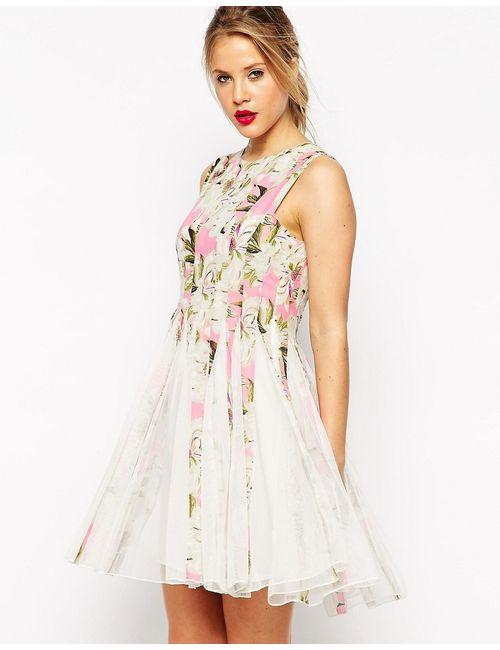 Asos   Розовое Приталенное Платье Мини Со Свободной Юбкой И
