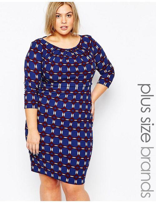 Goddiva plus | Женское Синее Трикотажное Платье Размера Плюс С Мозаичным Принтом
