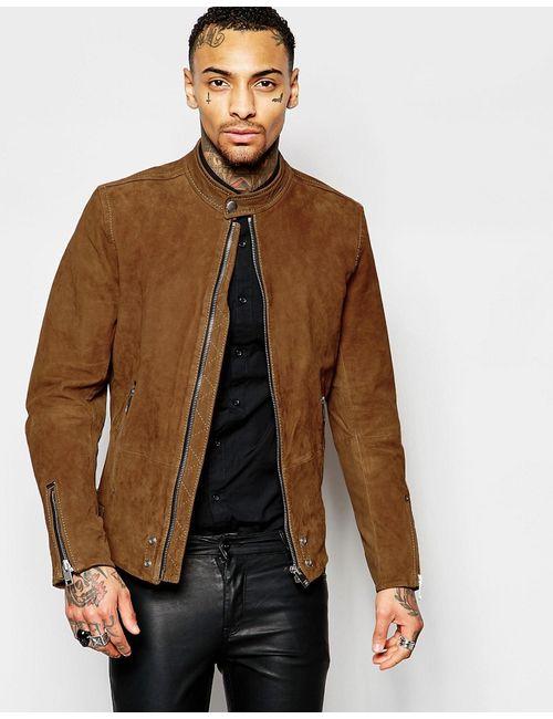 Diesel | Мужская Коричневая Коричневая Замшевая Байкерская Куртка На Молнии L-Edgeamer