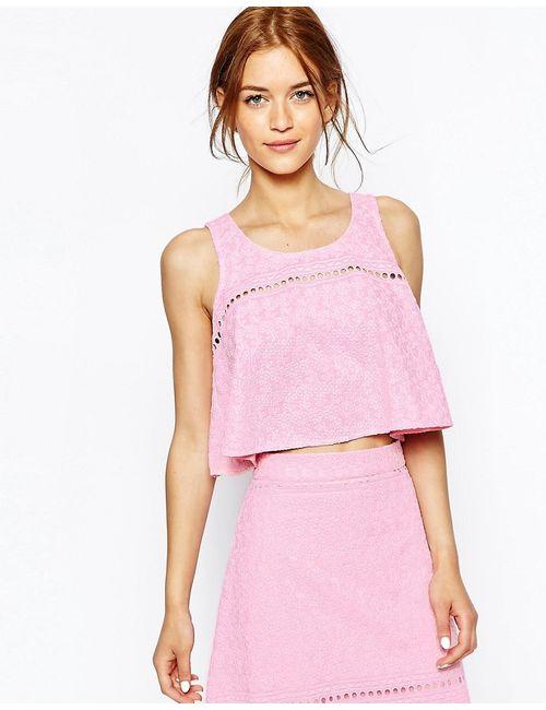 House Of Holland | Розовая Майка-Трапеция С Цветочной Вышивкой Розовый