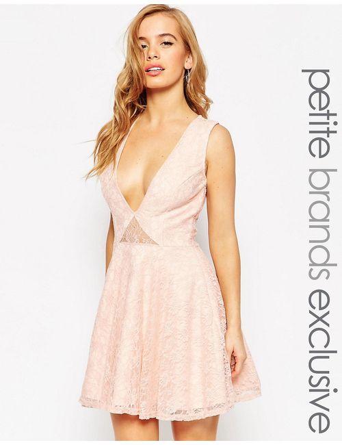 John Zack Petite   Женское Розовое Кружевное Платье Для Выпускного С Глубоким Вырезом