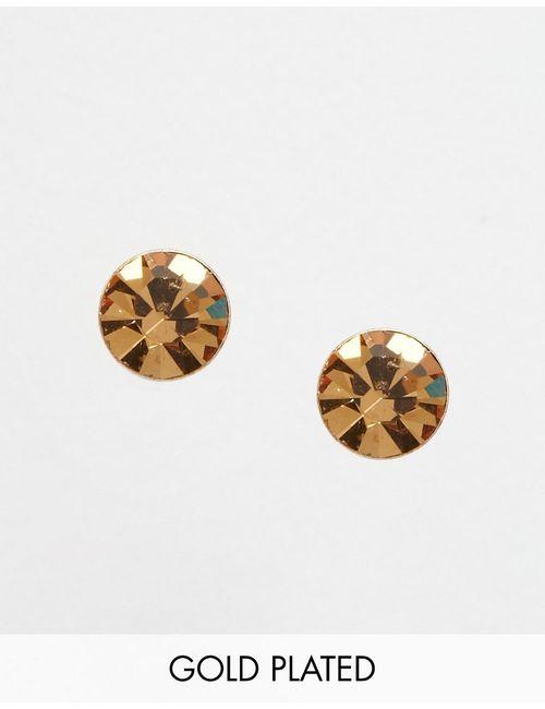 Pilgrim | Покрытые Розовым Золотом Серьги-Гвоздики С Камнем