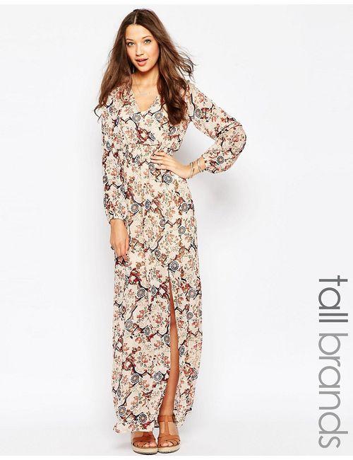 Glamorous Tall | Женское Многоцветное Платье Макси С Запахом Спереди И Цветочным