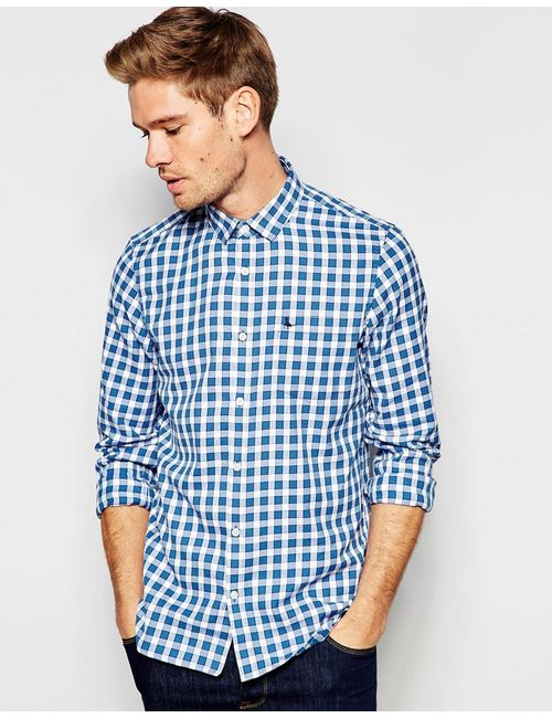 Jack Wills | Мужская Синяя Рубашка Классического Кроя В Клетку Белый/Синий В