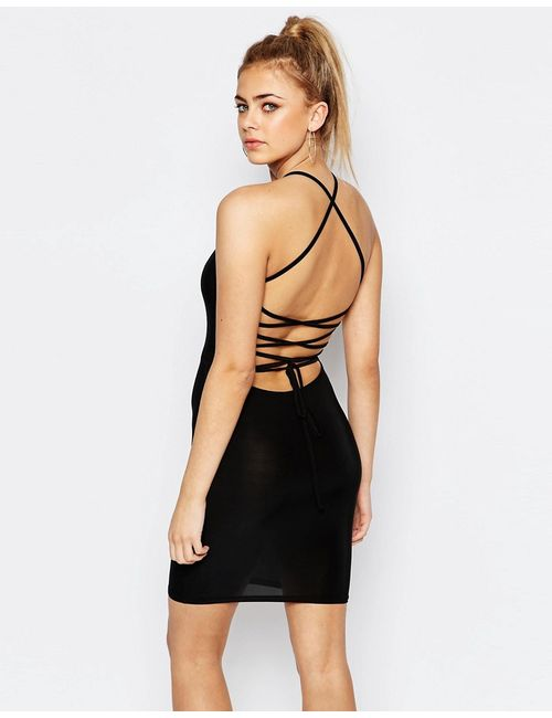 boohoo | Женское Черный Облегающее Платье С Бретельками На Спинке Черный