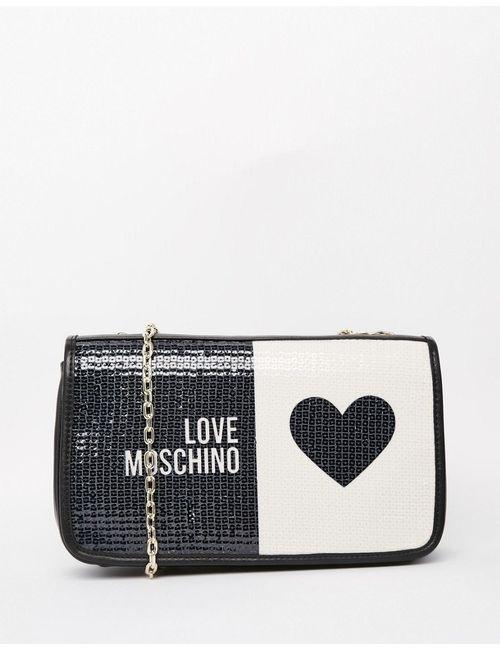 Love Moschino   Черный Стеганая Сумка На Плечо С Логотипом Черный