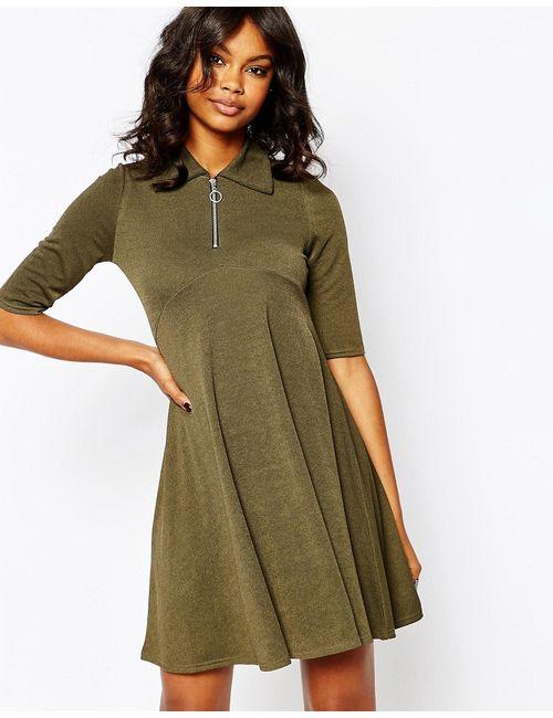 boohoo | Женское Хаки Свободное Платье На Молнии Спереди Хаки