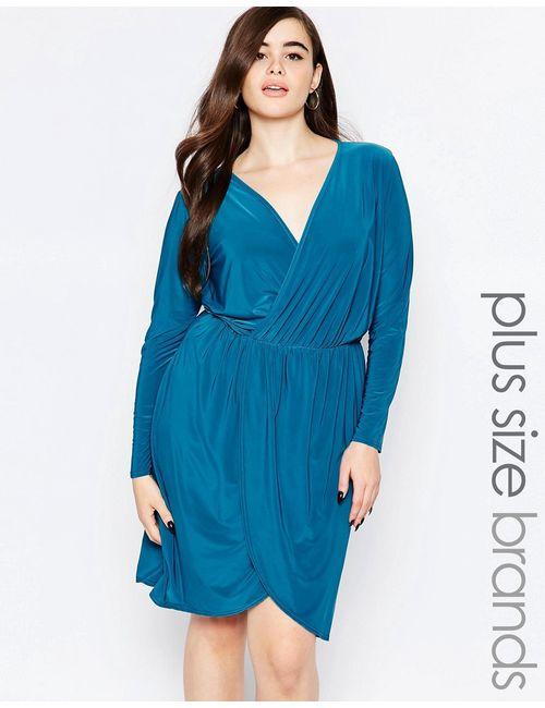 Boohoo Plus | Женское Зелёное Облегающее Платье Размера Плюс С Запахом Спереди