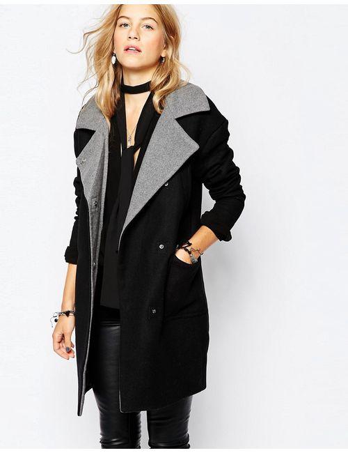 Vero Moda | Мужское Чёрное Пальто С Контрастным Воротником
