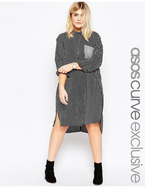 ASOS CURVE | Многоцветное Платье-Рубашка В Полоску