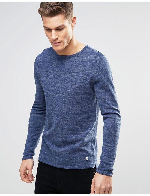 Esprit | Синий Меланжевый Трикотажный Джемпер Темно-Синий