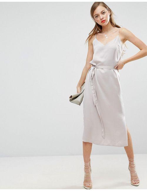 Asos | Серое Платье-Сорочка Миди С Поясом Серый