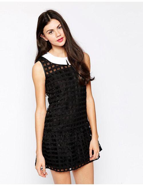 Ukulele | Женское Чёрное Платье Асимметричной Длины Stella