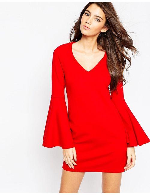 Asos | Красное Цельнокройное Платье С Расклешенными Рукавами