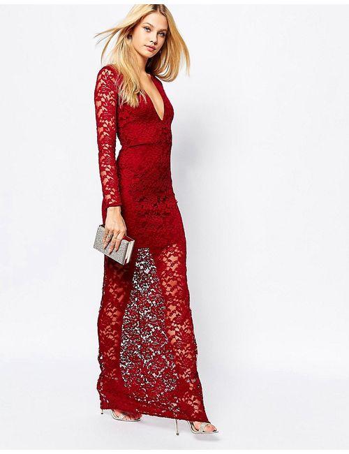 MISSGUIDED | Женское Burgundy Кружевное Платье Макси