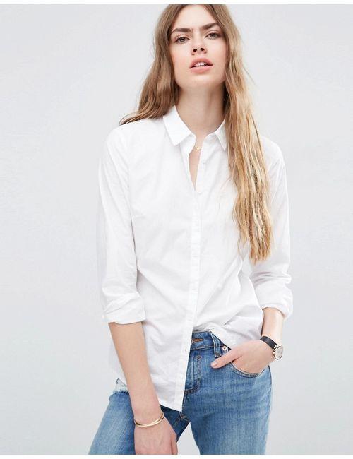 Asos   Женская Белая Приталенная Рубашка Белый