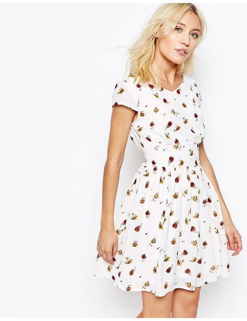 Iska | Женское Кремовое Чайное Платье С Принтом Роз Кремовый