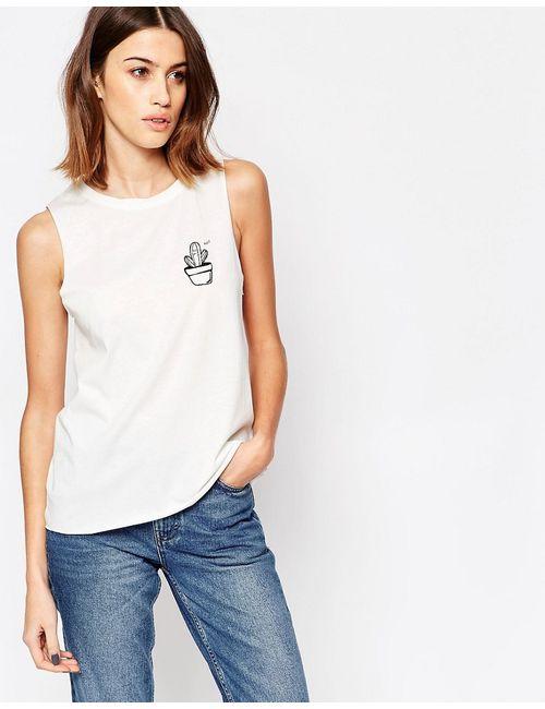 Vero Moda | Женский Белый Топ С Логотипом-Кактусом Белый