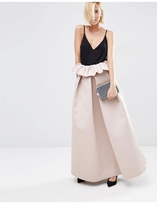 ASOS WHITE | Женская Розовая Фактурная Атласная Юбка С Рюшами Светло-Розовый