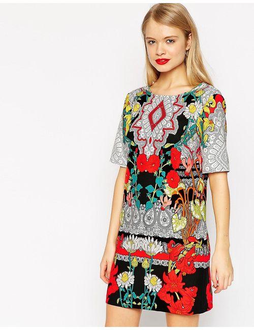Asos | Многоцветное Цельнокройное Платье С V-Образным Вырезом И Принтом
