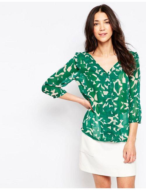 ICHI | Зелёная Блузка С Vобразным Вырезом И Принтом