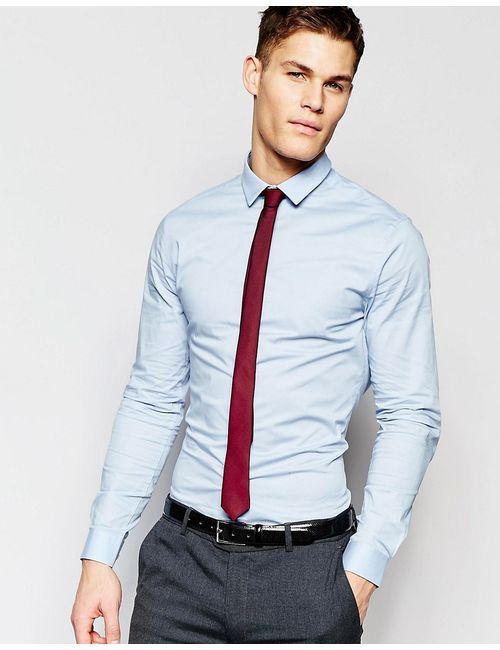 Asos | Голуба Голубая Облегающая Рубашка В Комплекте С Бордовым