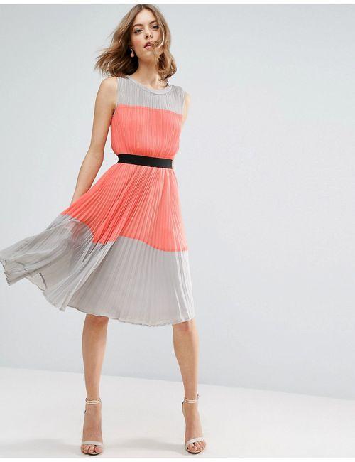 Asos | Женское Многоцветное Плиссированное Платье В Стиле Колор Блок Мульти