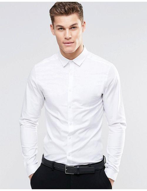 Asos | Мужская Белая Облегающая Оксфордская Рубашка С Длинными Рукавами Белый