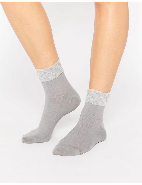 7X | Женские Серые Носки С Полупрозрачной Вставкой Серый Прозрачный