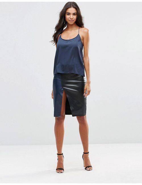 Vero Moda | Женская Чёрная Юбка Из Искусственной Кожи С Запахом Черный