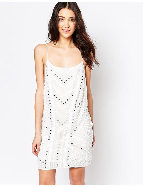 Glamorous | Женское Белое Платье На Бретельках С Декоративной Отделкой Белый