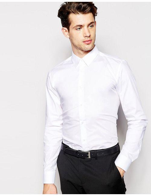 HUGO BOSS | Мужская Белая Рубашка Узкого Кроя Из Поплина Hugo By