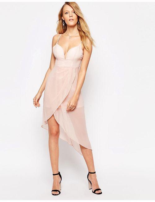 Glamorous | Женское Розовое Платье На Бретельках С Драпировкой Светло-Розовый