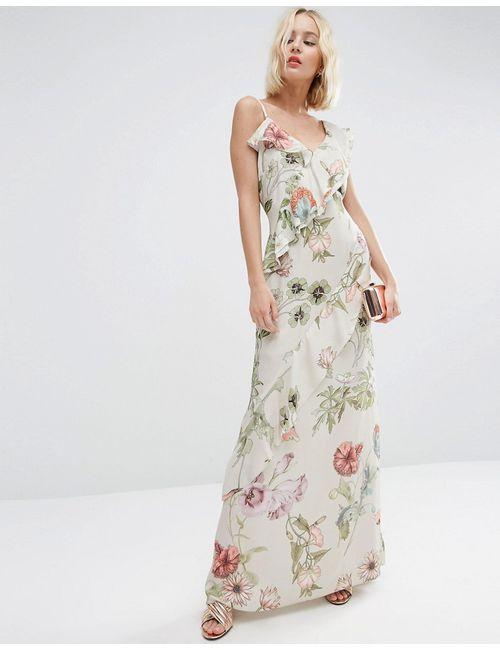 Asos | Женское Многоцветное Платье Макси С Рюшами И Цветочным Принтом