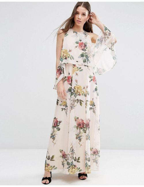 Asos   Женское Многоцветное Платье Макси С Цветочным Принтом И Открытыми