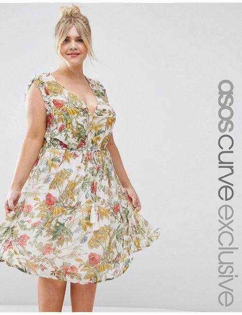 ASOS CURVE | Женское Принт Короткое Приталенное Платье С Цветочным Ом И