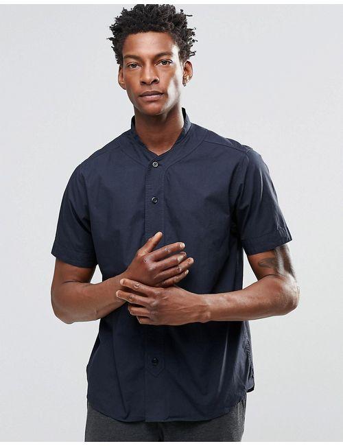 YMC | Мужская Синяя Рубашка С Короткими Рукавами И Бейсбольным Воротником